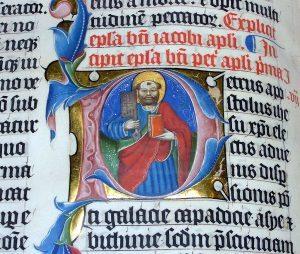 Iniciálé Cinóber vörössel – Malmesbury biblia