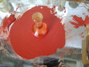 A festék eldörzsölése, a kész festék