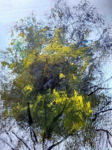Az egymást követő rétegek, 1. réteg ég, 2. réteg fekete háttér, 3. réteg legyezőecsettel kadmium sárga lombok A kadmium sárga a feketével keveredve semleges, természetes zöldet ad.