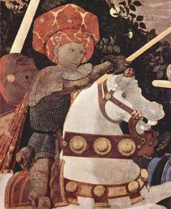 A ló kantárján jól megfigyelhető a megbarnult cinóber vörös. Paolo Uccello – A San Romanói csata, részlet, tojás tempera, dió olaj és lenolaj