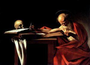 A festményen a mester kármin vörösre lazúrozott cinóber vörössel, így az képes volt megőrizni tisztaságát. Caravaggio – Szent Jeromos, 1605-1606, olaj, vászon.