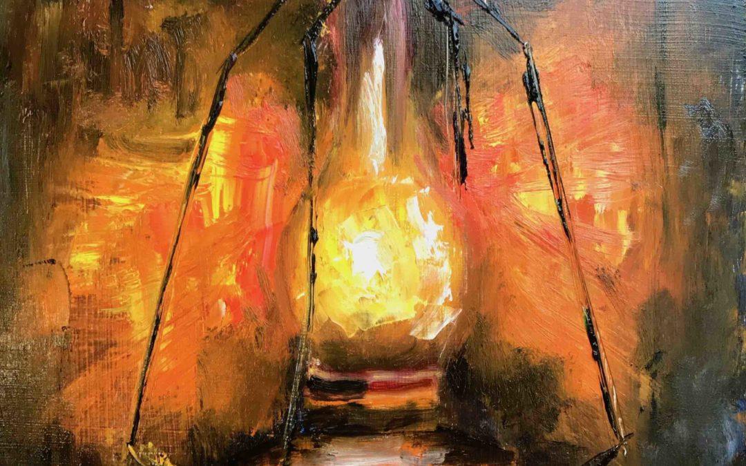 31. Lecke 5. Csendélet Lámpással c. kép festése (KSZR Színkeverő online festőtanfolyam)