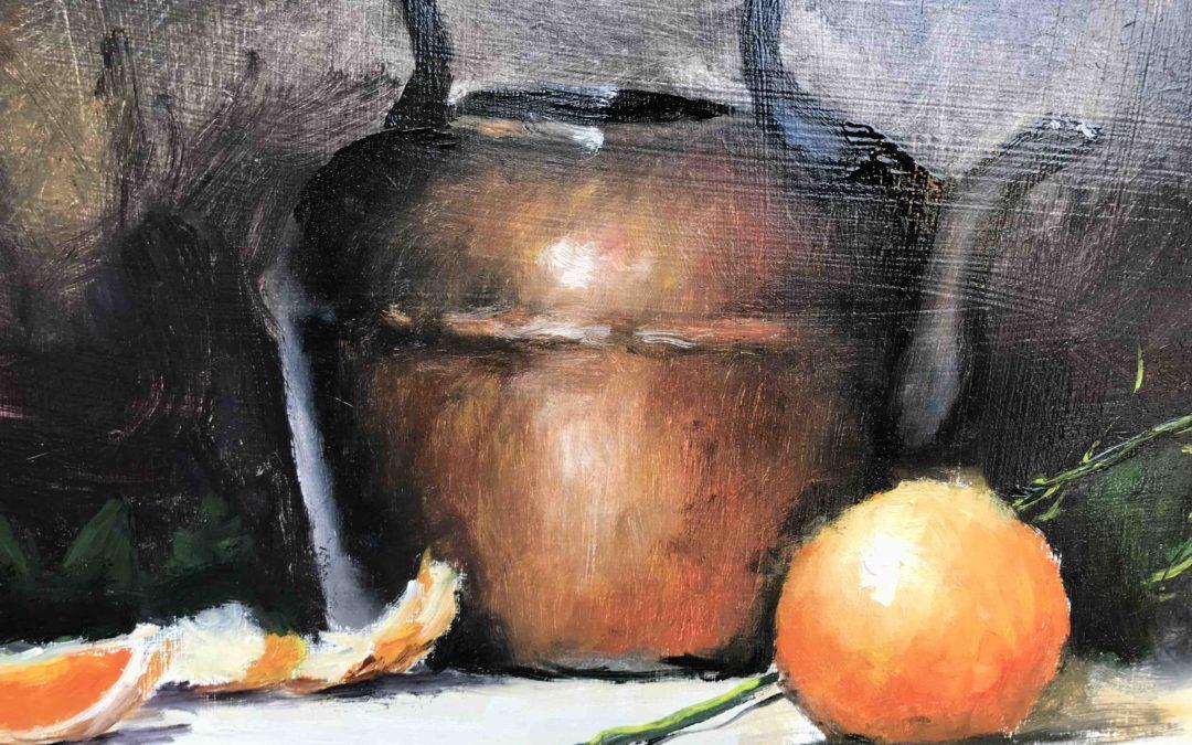 29. Lecke 4. Csendélet réz kannával c. kép festése (KSZR Színkeverő online festőtanfolyam)