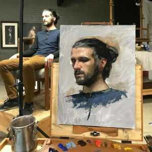 Portréfestés élő modell festése